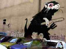 Banksy Rat With Knife Fork Wall A3 Sign Aluminium Metal Large