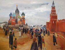 ROLAND LEFRANC HUILE SUR TOILE 'PLACE ROUGE MOSCOU' 80F