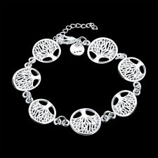 Women 925 Sterling Silver Filled Tree of Life Bracelet Charm Jewelry Christmas