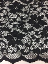 New  Black  Stretch Floral Lace Fabric Double Scalp Border 58""