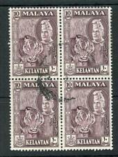 Malaya Kelantan 1957-63 10c deep maroon SG89 FU block of 4