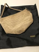 Authentic Fendi Vintage Tan  Zucchino Shoulder Hand Bag  With Duster
