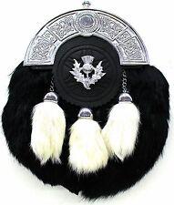 DEURA Bagpipe Kilt Rabbit Fur Sporran BLACK SP-300