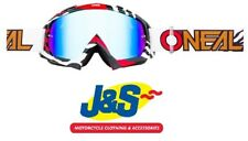Oneal B-10 Motocross Goggles MX Off-Road Stream BMX Moto-X White Red Clear Lens