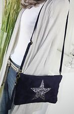 ITALY WILDLEDER IT BAG Sterne Tasche Leder CLUTCH Umhängetasche DUNKELBLAU H/M-7