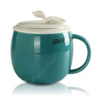 300ml Green Blue Ceramic Porcelain Tea Cup Coffee Mug lid Infuser Filter Mugs