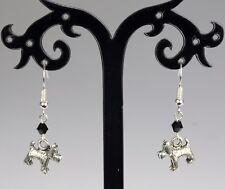 Tibetan silver dog (West Highland terrier) hooked earrings, black crystals