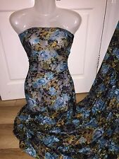 """1 MTR BLACK/TURQUOISE  FLORAL PRINT LACE NET LYCRA STRETCH FABRIC 60"""" WIDE £4.99"""