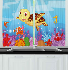 Kids Curtains Cute Baby Turtle Fishes Window Drapes 2 Panel Set 55x39 Inches