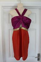 Ladies Pink & Orange Love Label Dress Size 12 Cocktail Party Frock Wedding