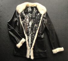 real leather & fur jacket coat turkish magnetic reversible warm winter luxury M