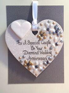 Diamond Wedding Anniversary Keepsake Heart On A Greetings Card Personalised