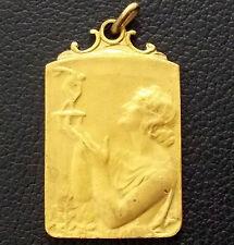 """FRANCE 1937 ANTIQUE ART NOUVEAU """"LE SOIR"""" KAYAC SPORT WOMAN LADY AWARD PLAQUE"""