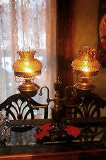 Double Oil Lamp Complete  2 Hink's and Sons single wick burners Amber shades