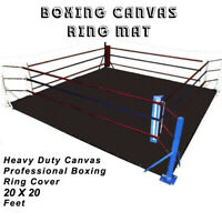 DEFY PROFESSIONAL BOXING RING MAT HEAVY DUTY CANVAS COVER MMA JUDO 20 FT BLACK