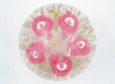 Pink Flowers Controlled Bubbles Art Glass Paperweight