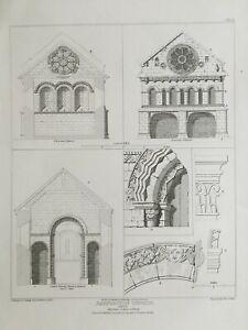 1812 Antique Print; Barfreston Church, Architectural Details, Kent after Gandy