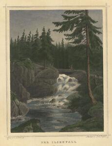 Ilsetal : Der Ilsenfall im Harz (Sachsen-Anhalt). - Kol. Stahlstich, um 1850