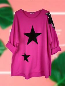NEW Womens Italian Soft Touch Velvet Star Ladies Sequin Shoulder Lagenlook Top