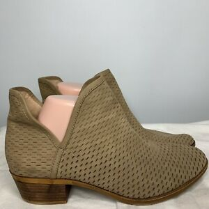 Lucky Brand Sz9.5  Baley Beige  Split Top Perforated Bootie Ankle Boots Boho