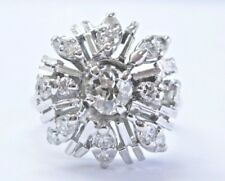 Vintage Old Mine Cut & Round Cut Diamond White Gold Cluster Ring .68Ct 14KT