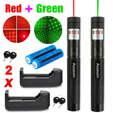 2x 990miles Red+Green Laser Pointer Pen Star Beam 2In1 Professional Lamp&Charger