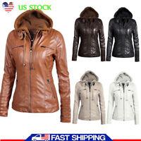 Women's Motorcycle PU Leather Jacket Outwear Biker Coat Ladies Hooded Outwear US