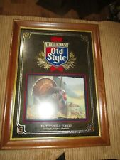 1993 Old Style Beer Advertising Mirror Sign Eastern Wild Turkey Sharon Anderson