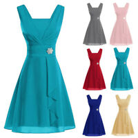 Ladies Women Sleeveless Formal Wedding Bridesmaid Party Ball Prom Gown Dresses