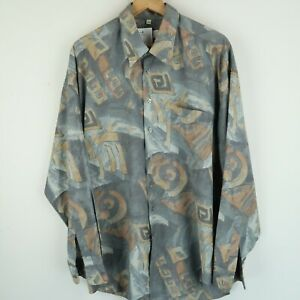 Vintage Mens 90S abstract crazy print festival shirt SIZE LARGE (E8538)