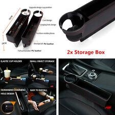 2x Black PU Leather Car Seat Gap Slit Filler Catch Caddy Catcher Storage Box