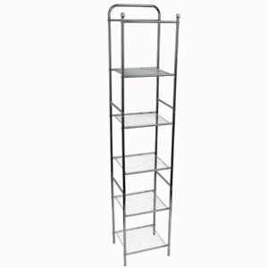 Bathroom / Kitchen 6 Shelves Wire Storage Unit - White BABC322