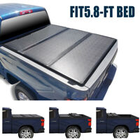 SUPER DRIVE SOLID TRI FOLD TONNEAU COVER FIT 2014-2018 CHEVY SILVERAOD 5.8FT BED