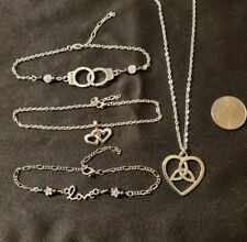 and Celtic Triquetra necklace 3 Silver Tone Anklets