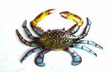 """12"""" CRAB BLUE METAL WALL SCULPTURE GARDEN ART TROPICAL ISLAND BEACH DECOR WALL"""
