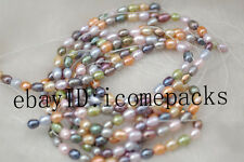 "5strands freshwater pearl multicolor rice 7-9mm 15"" wholesale beads nature gift"