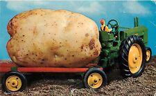 A Maine Potato Toy John Deere Tractor pm 1958 1950's Postcard