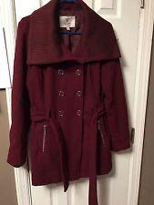 Guess Wool Blend Coat Size L - Burgundy