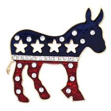 Democratic Political Party Symbol Patriotic Blue Red Big Donkey Star Brooch Pin