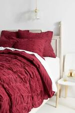 NWT Anthropologie Wine Ruffled Full Duvet and 2 Standard Shams