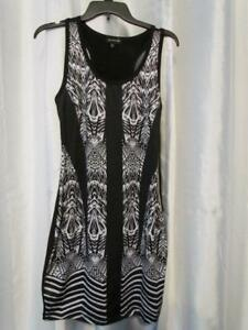 NWT Rampage Juniors Printed Front Bodycon Black White Aztec M Org $39.00