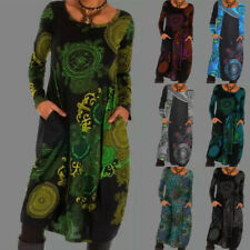 Plus Size Womens Long Sleeve Baggy Jumper Dress Ladies Casual Pockets Mini Dress