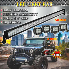 "50inch LED Light Bar + 4x 4"" CREE Led Pods 4WD Off Road Jeep + Wiring kit Switch"