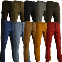 MENS SLIM FIT TWILL CHINOS JEANS BLACK KHAKI BLUE GREY CHARCOAL SAND MUSTARD RED