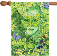 New Toland - Dryad Butterfly Welcome - Fairy Nymph Green Leaf House Flag