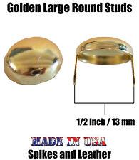 "500 Gold/Golden Round 1/2"" Dome Studs 12 mm Spots Nailhead Tack 2-prong USA Spot"