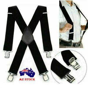 Mens Black Braces Suspenders 5cm Wide Heavy Duty Work Biker Working Braces