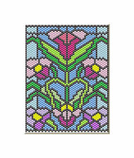 Spring Flowers Stain Glass Look Pony Bead Banner Pdf Pattern Only