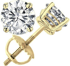2.0 ct Round Cut Solitaire Stud Earrings Solid 14k Real Yellow Gold Screw Back