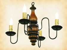 "PUMPKIN ""ABIGAIL"" COLONIAL WOOD CHANDELIER 4 Arm Candle Light - Handmade in USA"